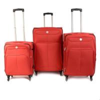 KINSTON Set de 3 Valises Souple 4 Roues 51-61-71cm Rouge