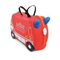 TRUNKI Valise Porteur a roulettes pour enfants - Voiture de Pompier Frank