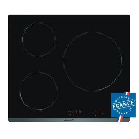 BRANDT TI118B - Table de cuisson - Induction - 3 zones - 7200W - L58 x P51cm - Revetement verre - Noir