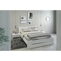 PARISOT Ensemble chambre lit 140x190 cm + 2 chevets blanc brillant - L 146 x P 75 x H 195 cm - EDEN