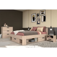 PARISOT Chambre complete Lit adulte 140x190 cm + 2 chevets 1 tiroirs + 1 commode 3 tiroirs - Decor Chene Brooklyn - DREAM