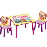 PAT PATROUILLE STELLA - Ensemble Table et 2 Chaises Bois Enfant - Rose et Multicolore