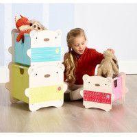 Meuble de rangement Enfant - 3 Bacs superposables Oursons Beige et Caramel BearHug - Worlds Appart