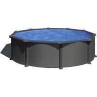 Piscine GRE - Ronde acier - O 3,70m x H 1,22 m - Gris anthracite - Filtration a sable