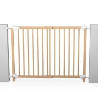 AT4 Barriere de securite enfant amovible et portillon - 73-110 cm - Bois naturel vernis
