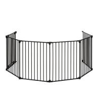 NIDALYS Barriere Pare Feu Multi fonctions Metal 70cm-370cm Noire