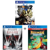 Pack 3 jeux PS4 : Dragon Ball Xenoverse 2 + Assassins Creed Rogue Remastered + Rayman Legends
