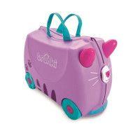 TRUNKI Ride On Valise a Roulettes Enfant Chat Cassie - 46x30x21 cm - Violet et Bleu