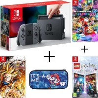 Pack Nintendo Switch Grise + Dragon Ball FighterZ code in a box + LEGO HARRY POTTER + housse + Mario Kart 8 Deluxe