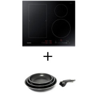 Pack cuisson SAMSUNG NZ64K5747BK - Table de cuisson a induction - 4 zones - 7200W - L60 x P52cm + Set 3 poeles 20/24/28
