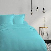 COTE DECO Housse de couette 100% coton 240x260 cm - Bleu turquoise
