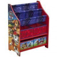PAT PATROUILLE - Meuble Enfant de Rangement Jouets/Livres en Bois - Rouge et Multicolore