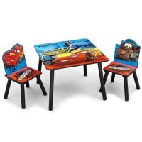 CARS - Ensemble Table et 2 Chaises Bois Enfant - Noir et Multicolore