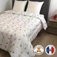DODO Couette chaude 400 gr/m2 COLETTE - 200x200 cm - Blanc imprime Plumes dorees