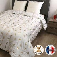 DODO Couette chaude 400 gr/m2 COLETTE - 220x240 cm - Blanc imprime Plumes dorees
