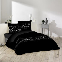 DOUCEUR DINTERIEUR Parure de couette Love Dreams 100% coton  - 1 housse de couette 220x240 cm + 2 taies 63x63 cm noir