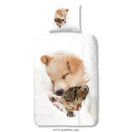 GOOD MORNING Parure de couette 100% coton SLEEPING - 1 Housse de couette 140x200 cm + 1 Taie dOreiller 60x70 cm