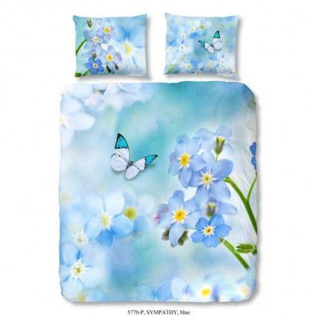 GOOD MORNING Parure de couette Coton Sympathy - 1 housse de couette 140x200cm + 1 taie doreiller 60x70cm - Bleu