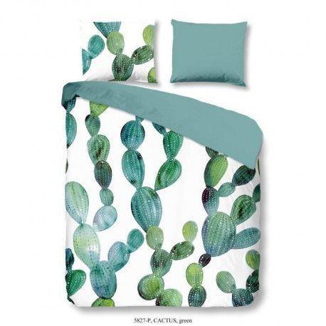 GOOD MORNING Parure de couette CACTUS 100% coton - 1 housse de couette 220x240 cm et 2 taies doreiller 60x70 cm - Vert