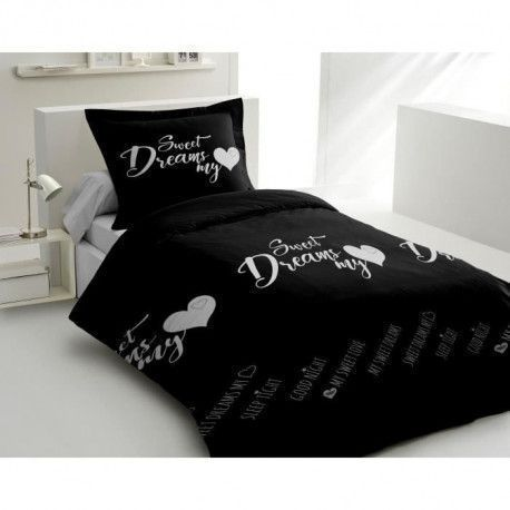 LOVELY HOME Parure de couette 100% coton Sweet Dreams - 140x200 cm - Noir