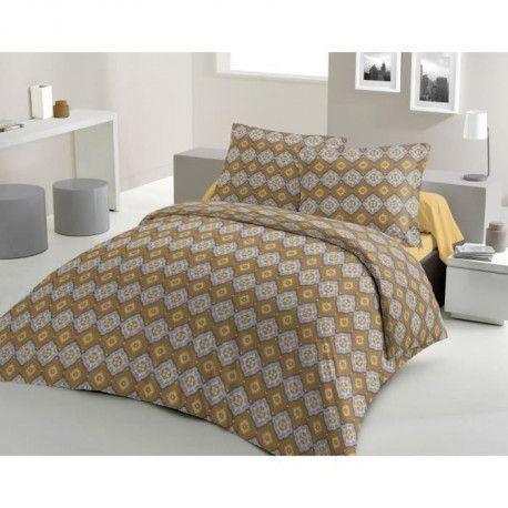 LOVELY HOME Parure de couette 100% coton Wax Spirit - Jaune moutarde - 240x260 cm