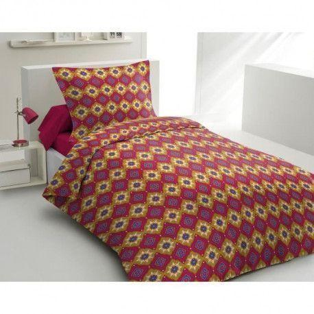 LOVELY HOME Parure de couette 100% coton Wax Spirit - Rouge bordeaux - 140x200 cm