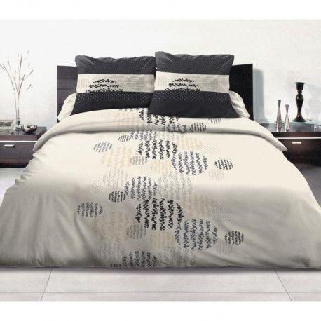 Parure de couette Symbole 100% coton - 240x260 cm - Beige et noir