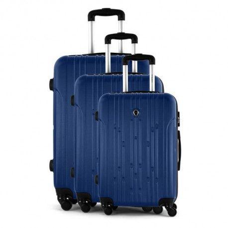 JLS Set de 3 Valises chariot - ABS - 4 roues - 75 cm - Bleu