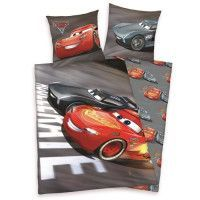 CARS 3 Parure de couette 100% Coton - 1 housse de couette 140x200cm + 1 taie doreiller 65x65cm gris et rouge