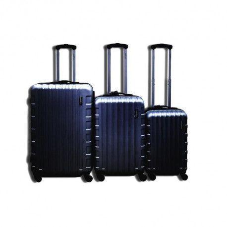 MANOUKIAN Set de 3 Valises chariot - ABS - 8 roues - 75-26 cm - Noir