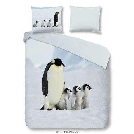 GOOD MORNING Parure de couette PINGUINS 100% coton - 1 housse de couette 140x200 cm et 1 taie doreiller 60x70 cm - Gris