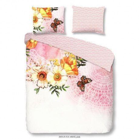 GOOD MORNING Parure de couette FLY AWAY 100% coton - 1 housse de couette 220x240 cm et 2 taies doreiller 60x70 cm - Rose