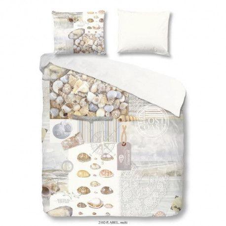 GOOD MORNING Parure de couette 100% coton Abel - Housse 220x240 cm + 2 Taies dOreiller 60x70 cm - Bleu pale, beige et blanc