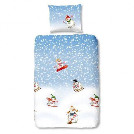 GOOD MORNING  Parure de couette Snowfall style scandinave - 1 housse de couette 140x200 cm + 1 taie 60x70 cm bleu, blanc et vert
