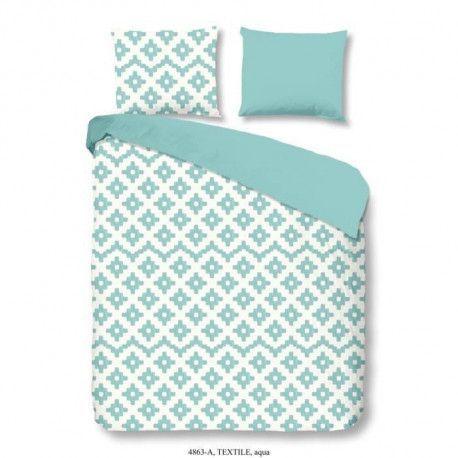 GOOD MORNING Parure de couette Textile 100% coton - 1 housse de couette 200x200 cm + 2 taies doreillers 60x70 cm bleu