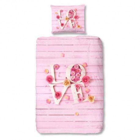 GOOD MORNING Parure de Couette Love - 1 housse de couette 140x200 cm + 1 taie 60x70 cm rose