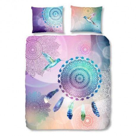 HIP Parure de couette Sima - 1 housse de couette 200x200 cm + 2 taies 60x70 cm violet, bleu et rose