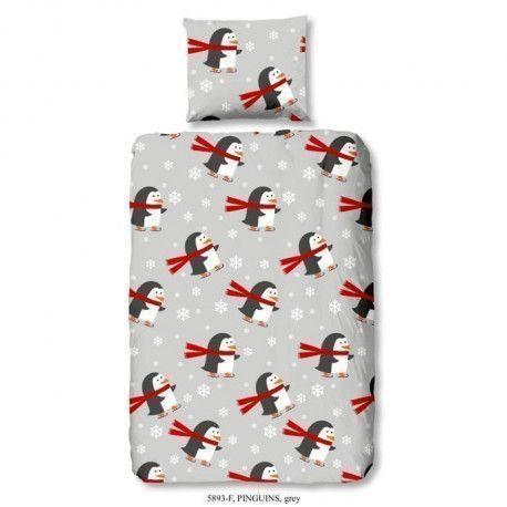 GOOD MORNING Parure de couette PINGUINS 100% coton - 1 housse de couette et 1 taie doreiller - 140x200 cm - Gris