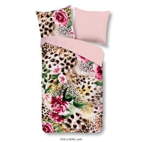 GOOD MORNING Parure de couette ROSE 100% coton - 1 housse de couette 140x200 cm et 1 taie doreiller 60x70 cm - Multicolore