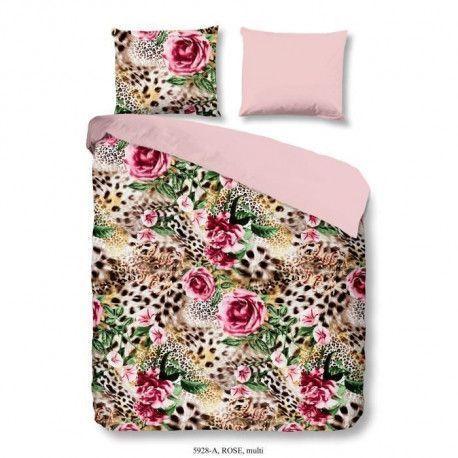 GOOD MORNING Parure de couette ROSE 100% coton - 1 housse de couette 220x240 cm et 2 taies doreiller 60x70 cm - Multicolore