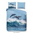 GOOD MORNING Parure de couette DOLPHINS 100% coton - 1 housse de couette 200x200 cm et 2 taies doreiller 60x70 cm - Bleu