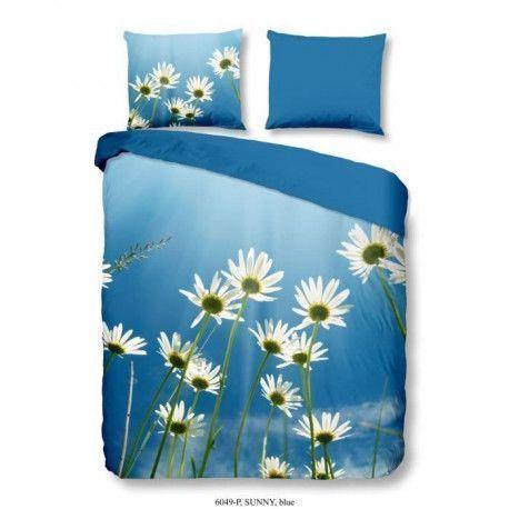 GOOD MORNING Parure de couette SUNNY 100% coton - 1 housse de couette 200x200 cm et 2 taies doreiller 60x70 cm - Bleu
