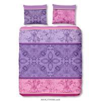DESCANSO Parure de couette CYNTHIA 100% satin de coton - 1 Housse de couette 200x200 cm + 2 Taies dOreillers 60x70 cm - Violet