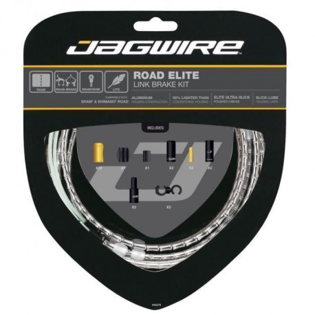 JAGWIRE Kit cable frein Road Elite Link Brake - Cables, gaines, boitiers, segments - o exterieur 5,0 mm - Argent