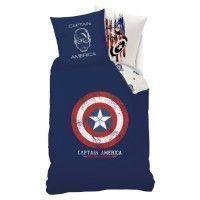 AVENGERS Parure de couette 100% coton Captain America - 140x200 cm - Bleu marine