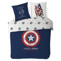 AVENGERS Parure de couette 100% coton Captain America - 200x200 cm - Bleu marine