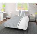 SOLEIL D OCRE Parure de couette Damier 100% coton - 1 housse de couette 140 x200 cm + 1 taie doreiller - Blanc