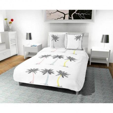 SOLEIL D OCRE Parure de couette Palmier 100% coton - 1 housse de couette 220 x 240 cm + 2 taies doreiller - Blanc