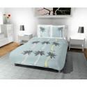 SOLEIL D OCRE Parure de couette Palmier 100% coton - 1 housse de couette 220 x 240 cm + 2 taies doreiller - Bleu