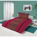SOLEIL DOCRE Parure de couette Wax 100% coton - 240x260 cm - Rouge